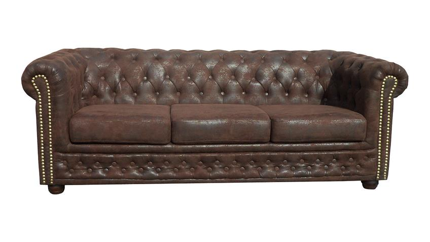 chesterfield sofa sheffield 3 sitzer couch microfaser braun. Black Bedroom Furniture Sets. Home Design Ideas