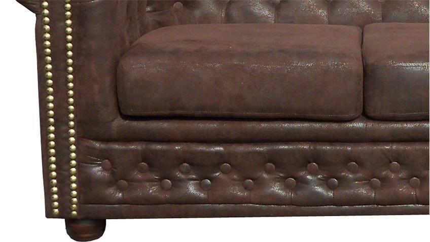 Chesterfield Sofa Sheffield 3-Sitzer Couch Microfaser braun