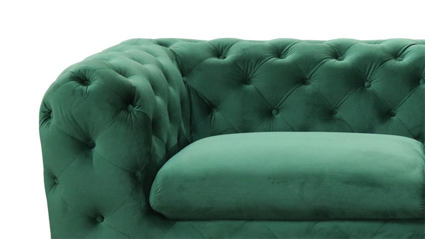 Sofa CHELSA 3-Sitzer Couch Stoff samtweich grün 225 cm