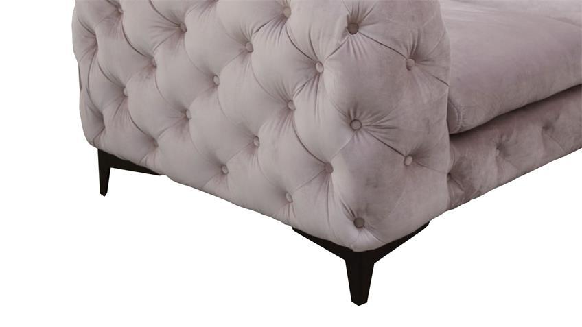 Sofa CHELSA 2-Sitzer Couch Stoff samtweich rosa 185 cm