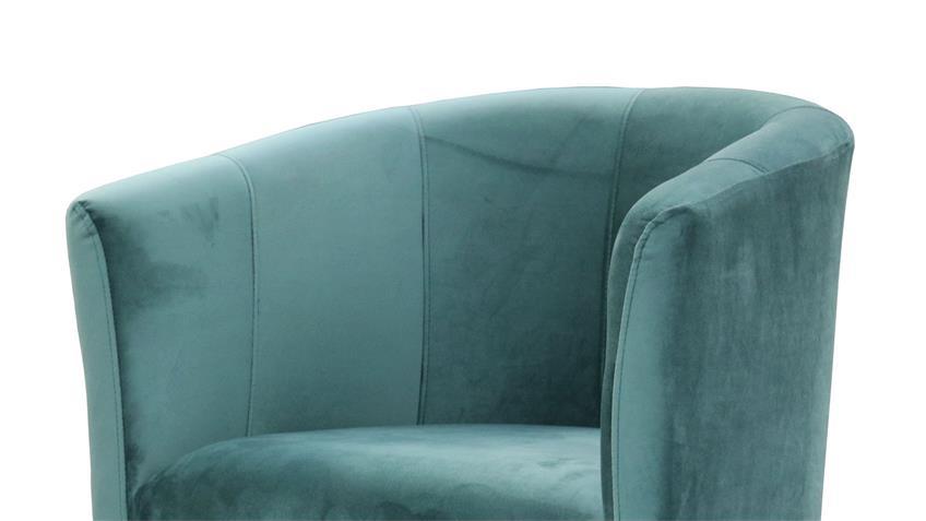 Cocktailsessel CLUB Sessel Clubsessel Stoff samtweich blau