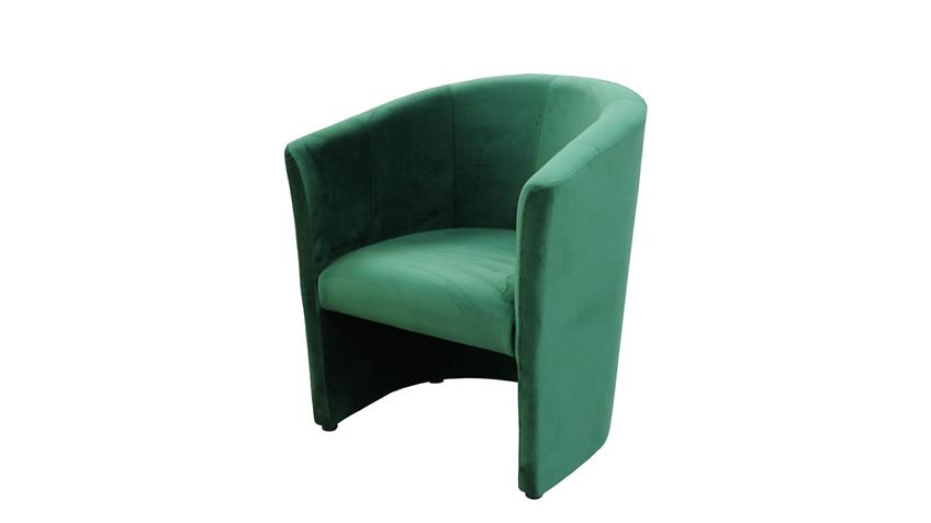 Cocktailsessel CLUB Sessel Clubsessel Stoff samtweich grün