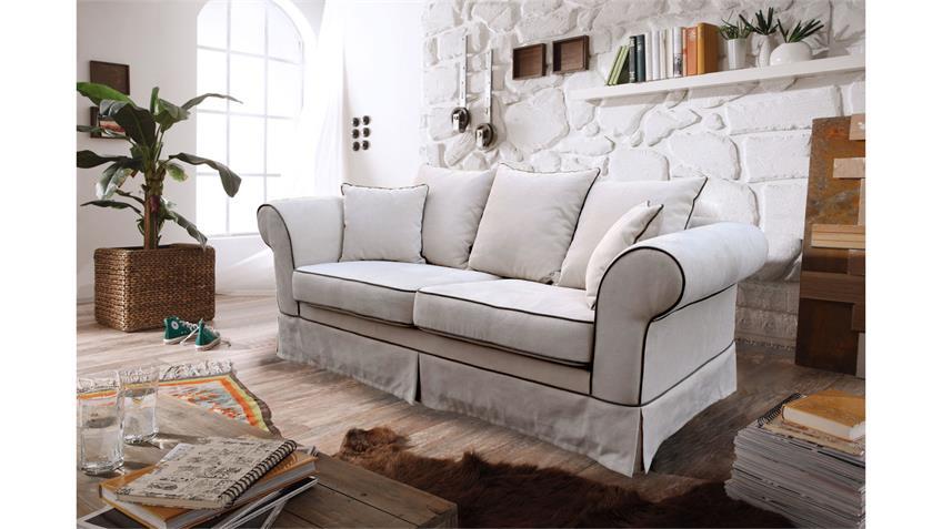 Sofa GRAN 3-Sitzer Couch Polstersofa Stoff beige 215 cm