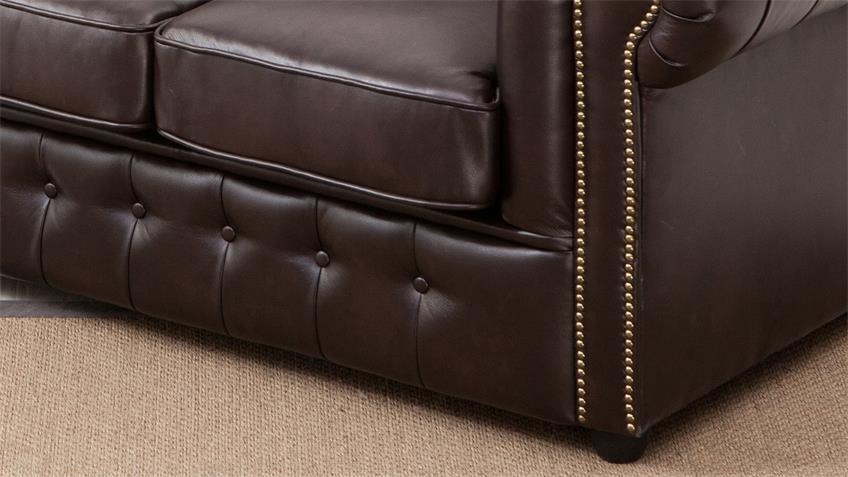 Sofa Chesterfield 2-Sitzer Couch in dunkelbraun glänzend