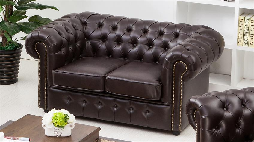 sofa chesterfield 2 sitzer dunkelbraun gl nzend. Black Bedroom Furniture Sets. Home Design Ideas