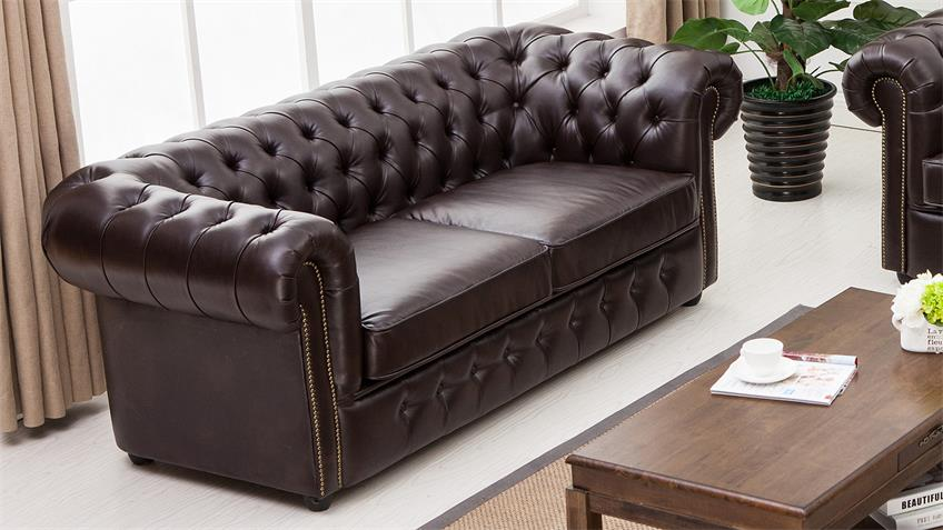 Garnitur 3-2-1 Chesterfield Sofa Sessel in dunkelbraun glanz 3-teilig