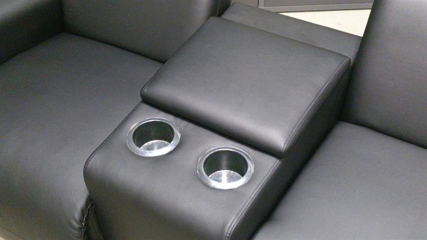 Kinosessel 2-Sitzer schwarz mit Konsole und Getränkehalter