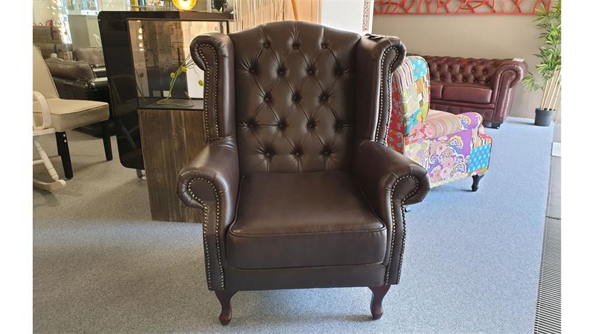 Chesterfield Ohrensessel Sessel in dunkelbraun glänzend mit Steppung