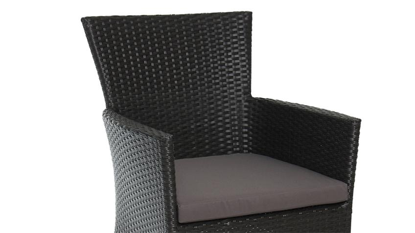 gartenstuhl aus polyrattan mit kissen in schwarz anthrazit. Black Bedroom Furniture Sets. Home Design Ideas