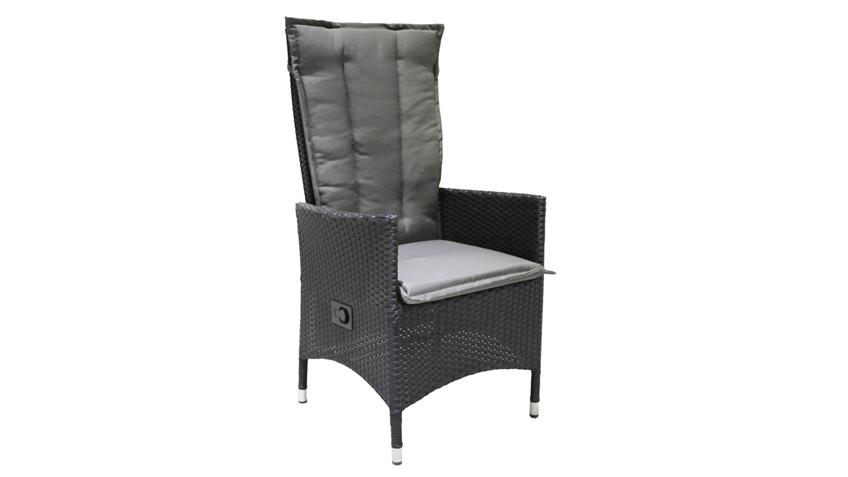 relaxliege polyrattan gartenstuhl verstellbarer r cken schwarz. Black Bedroom Furniture Sets. Home Design Ideas