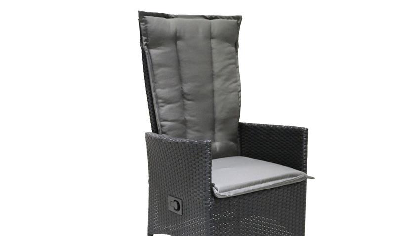 Relaxliege Polyrattan Gartenstuhl schwarz anthrazit verstellbar