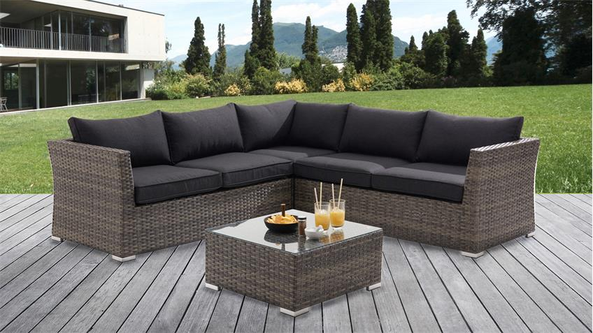 garten lounge ecksofa gartenm bel polyrattan sitzgruppe mit couchtisch. Black Bedroom Furniture Sets. Home Design Ideas