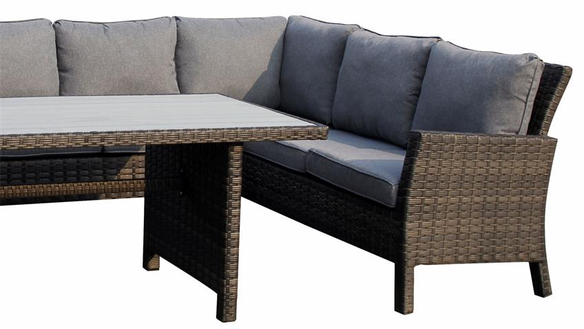 Sitzecke Madison Eckbank mit Tisch in Polyrattan grau braun