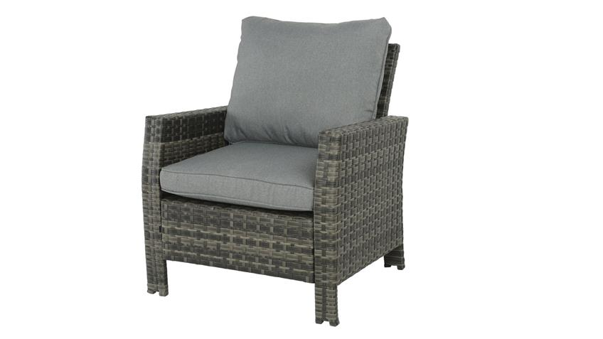 Sessel madison outdoor lounge chair in polyrattan grau braun for Lounge sessel polyrattan