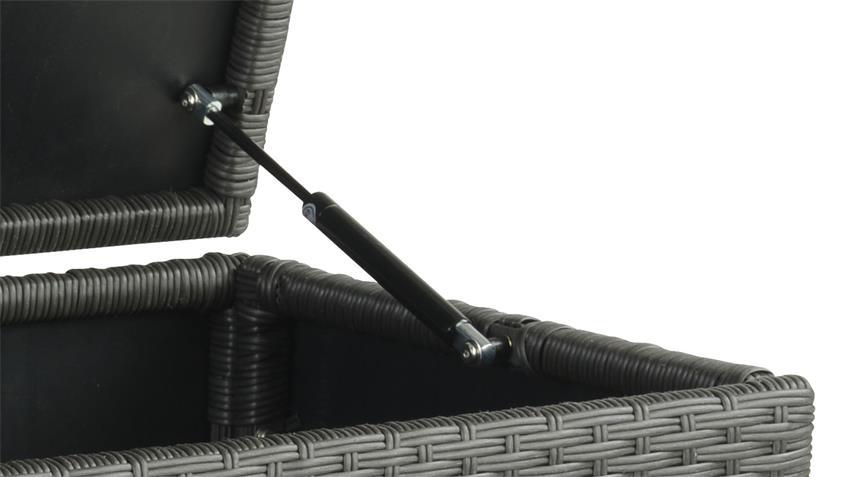 Gartentruhe aus Polyrattan Wäschetruhe anthrazit schwarz