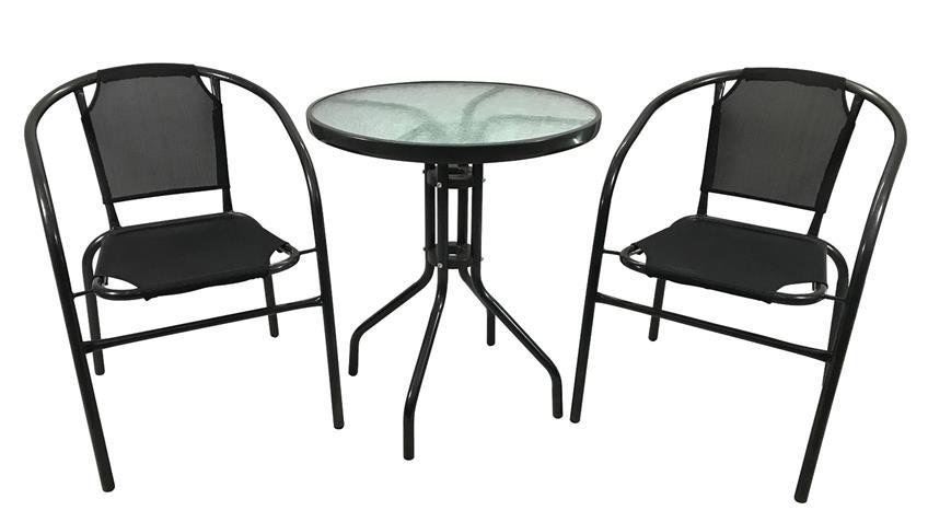 Glastisch runder Balkontisch mit Glas in Regentropfen Optik 60cm