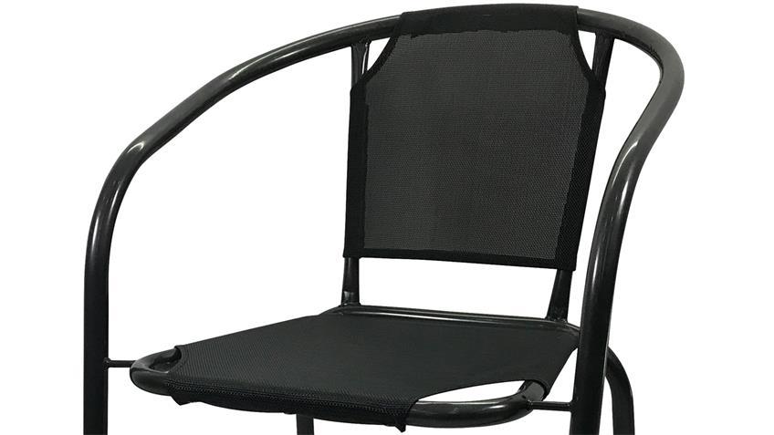 Gartenstuhl Metallstuhl 2er Set  mit Stoff anthrazit für Balkon