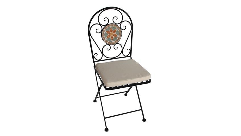 Eisenstuhl Stuhl für Balkon mit Blumen Mosaik und Sitzpolster