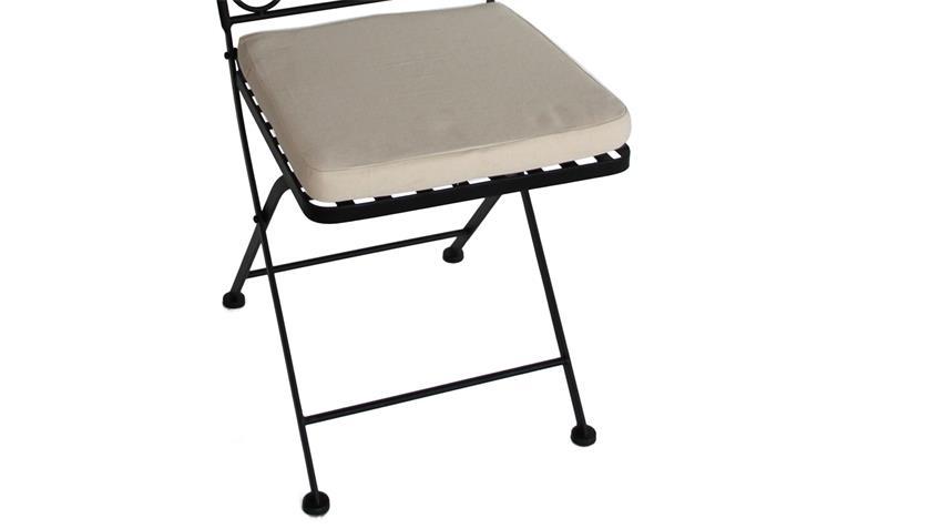 Eisenstuhl Gartenstuhl schwarz mit Mosaik und Sitzpolster