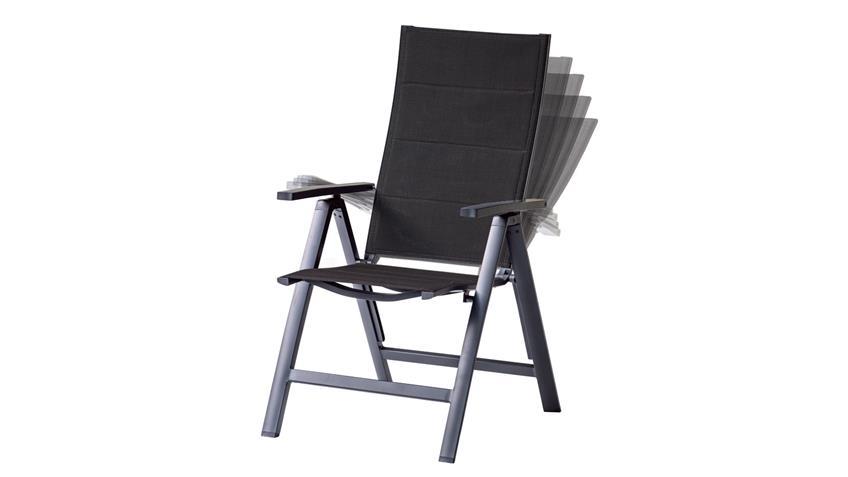 Gartenstuhl Livorno Relaxstuhl in anthrazit Rücken verstellbar