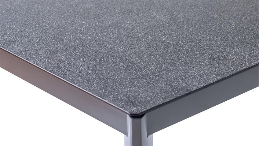 Tisch Livorno anthrazit Spraystone Glasplatte 160x90 cm Outdoor geeignet
