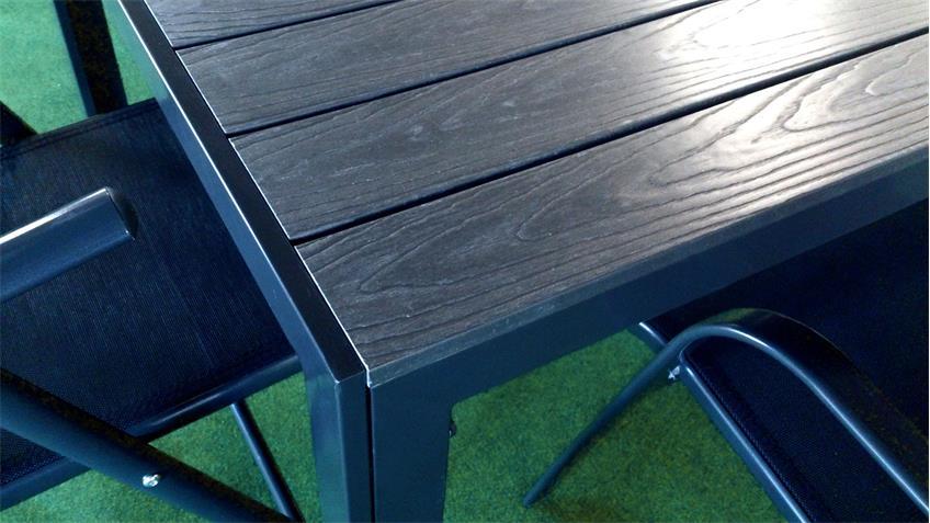 Gartentisch in anthrazit aus Aluminium Polywood 90x90 cm