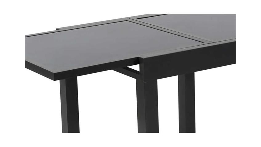Tisch für Terrasse mit Glas dunkelgrau anthrazit ausziehbar 90-180