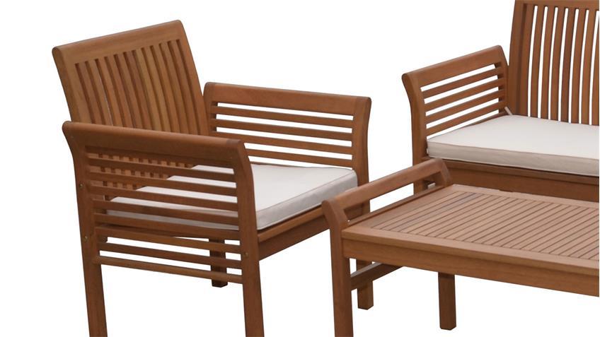Lounge-Gruppe Gartengarnitur aus massiver Akazie 4-teiliges Set