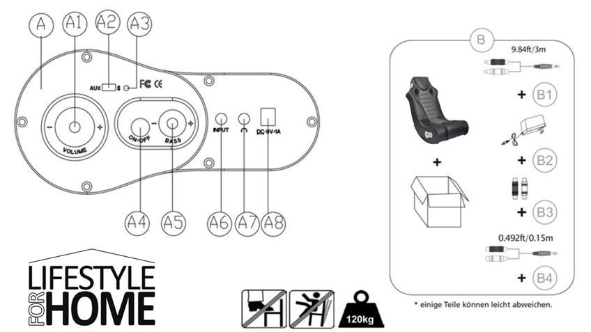 Sound Sessel SPEEDY Gaming Chair schwarz BLUETOOTH