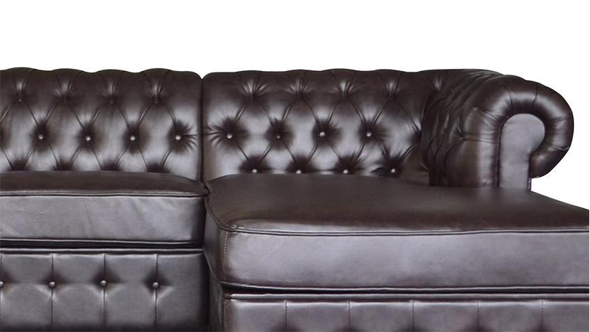 ecksofa chesterfield in dark coffee braun 269x167 cm. Black Bedroom Furniture Sets. Home Design Ideas