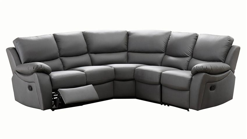ecksofa recliner 5 sitzer mit relax funktion lederlook grau. Black Bedroom Furniture Sets. Home Design Ideas