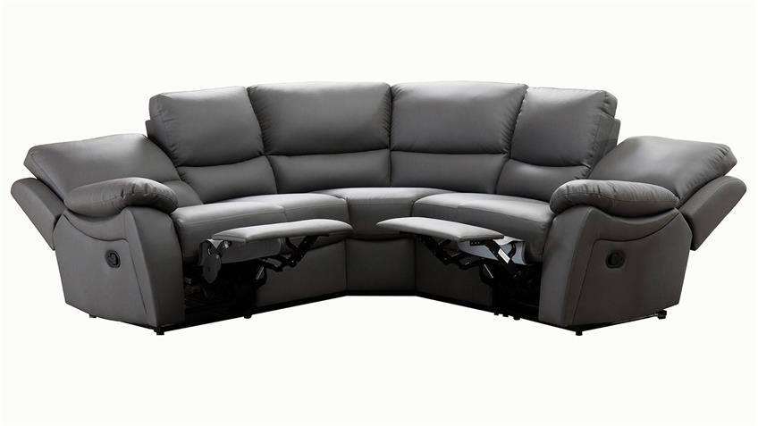Ecksofa Recliner 5-Sitzer mit Relax Funktion Lederlook grau