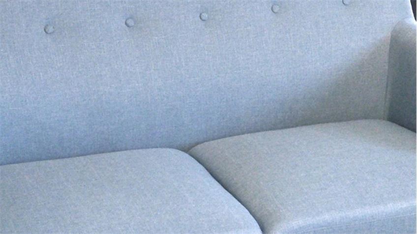 Sofa 2-Sitzer Linon Retro Couch Leinenstoff hellblau und Buche