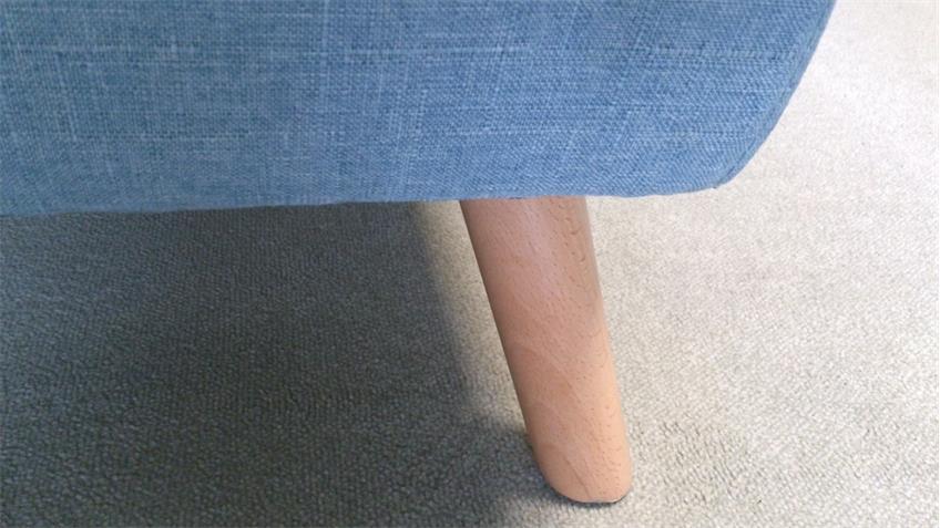 Sofa 3-Sitzer Linon Retro Couch in Leinenstoff hellblau und Buche