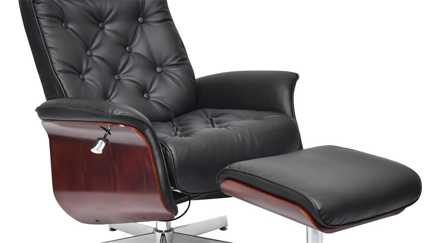 TV Relaxsessel JAMES  Hocker Formholz Lederlook schwarz