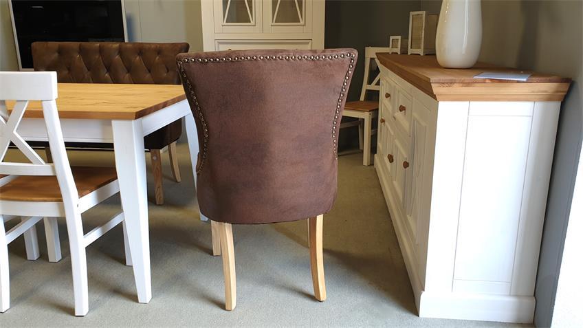 Stuhl DINING 2er Set Microfaser Vintage braun Beine Eiche gebeizt