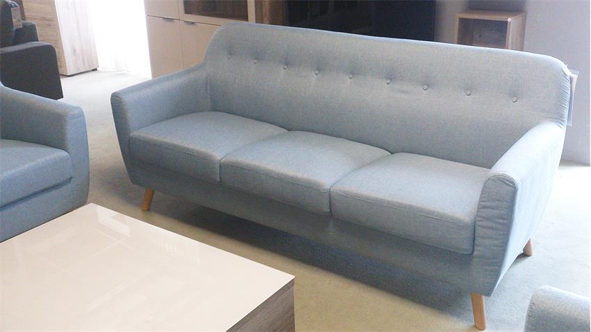 Sofa Garnitur Linon Retro Couch  Set in Leinenstoff hellblau