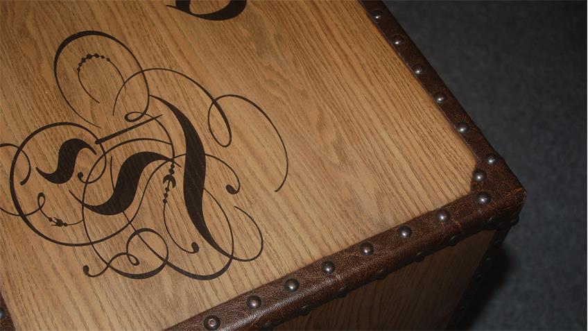 Kommode Antik Rollkommode mit  Lederlook und Schubkästen