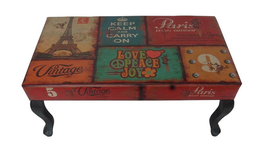 Holzbank Vintage Sitzbank Couchtisch mit Lederlook Paris Motiv
