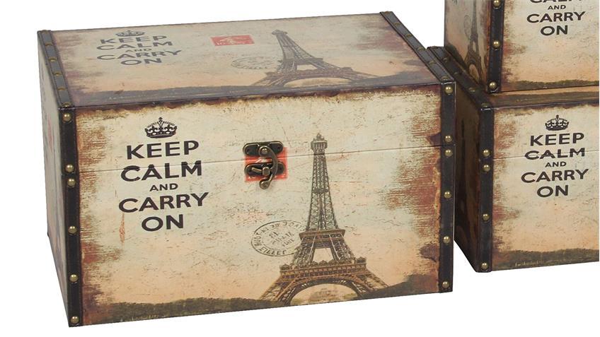 Kisten 3er Set Eiffelturm Motiv Holzkisten Vintage Aufbewahrung
