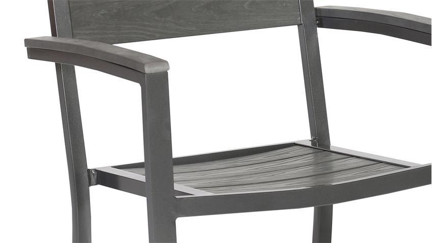 Garten 2er Set  Stapelstuhl Polywood Aluminium anthrazit