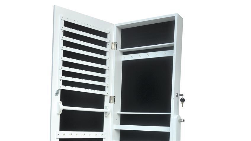 Schmuckschrank Spiegelschrank mit Standspiegel in Weiß