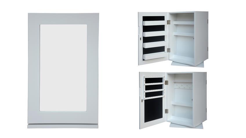 Schmuckschrank mit Spiegel in Weiß für Tisch oder Badezimmer