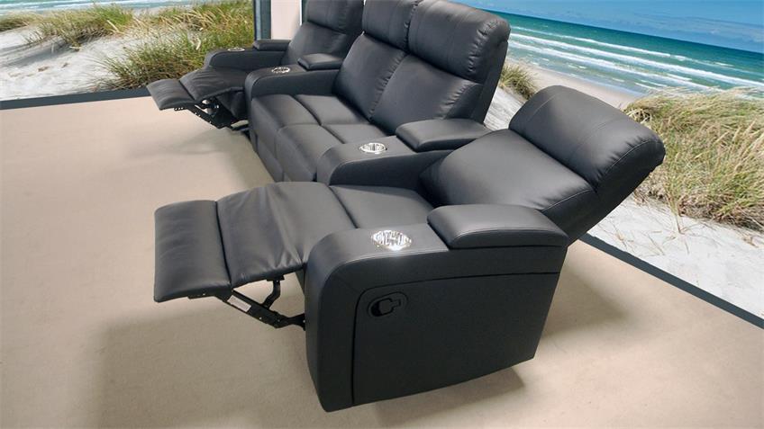 Cinema Sofa 4er Kinosessel in schwarz mit Relaxfunktion
