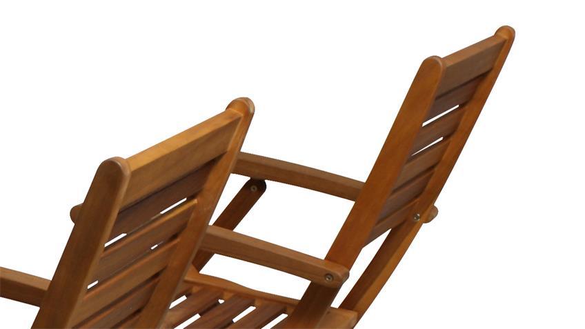Gartenstuhl 4er-Set Stuhl Holzstuhl Akazie Massivholz mit Kissen creme