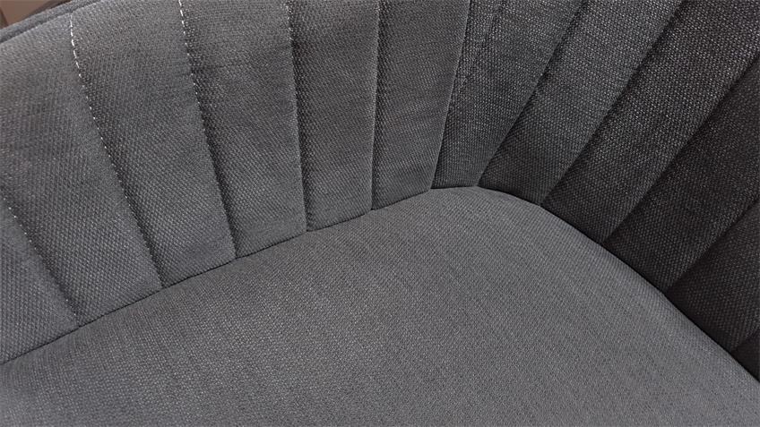 Armlehnstuhl SWIVEL Polsterstuhl grau Massivholz drehbar