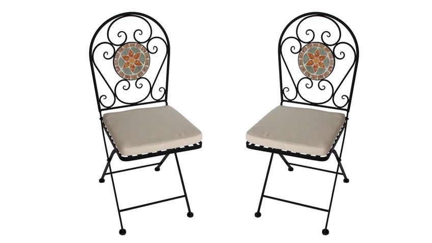 Eisenstuhl Stuhl 2er Set für Balkon mit Blumen Mosaik und Sitzpolster