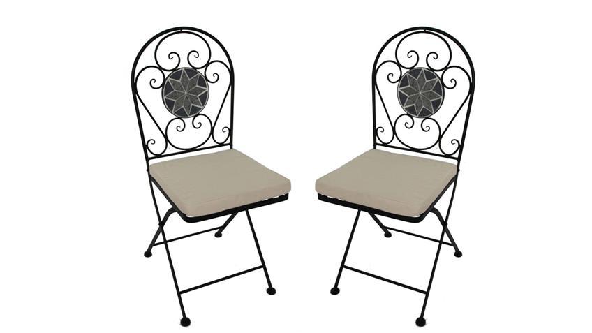 Eisenstuhl Gartenstuhl 2er Set Mosaik schwarz grau und Sitzpolster