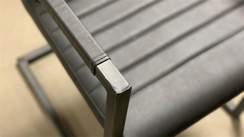 Freischwinger Stuhl Vintage grau 2er Set Gestell Antik schwarz