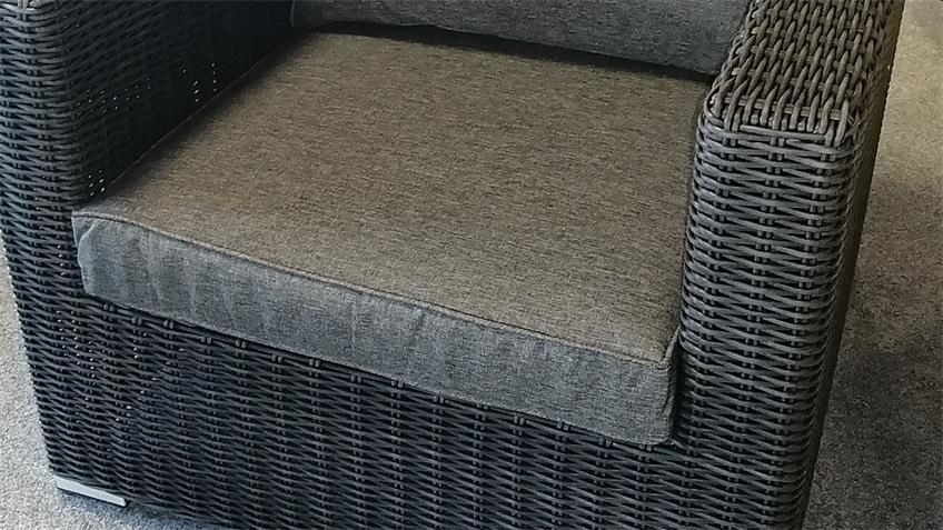 Sessel FLEXI Lounge Einzelsessel Polyrattan Polster grau